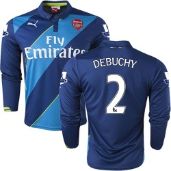 Men's 2 Mathieu Debuchy Arsenal FC Jersey - 14/15 England Football Club Puma Authentic Blue & Lime Green Third Soccer Long Sleev
